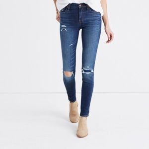 "Madewell 9"" High Rise Skinny Jeans (Rip & Patched)"